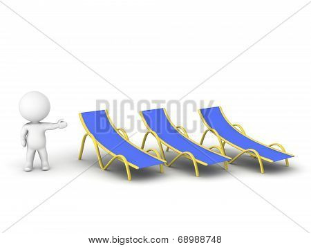 3D character showing beach chairs