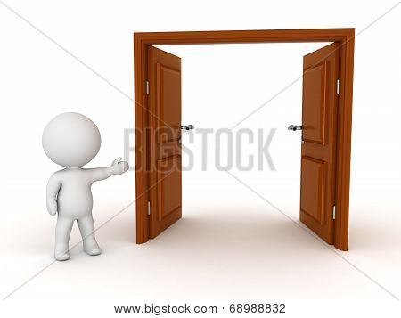 3D Character Showing Open Door