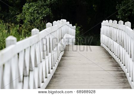 Patterned Wooden White Foot Bridge