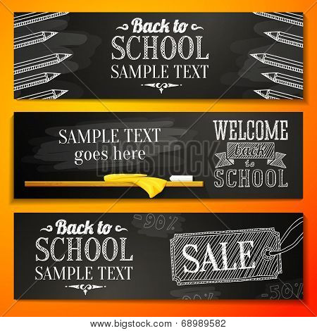 Set of school banners with place for your text and sale advertisement, and welcome back to school gr