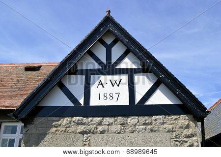 Mock Tudor gable end of a house