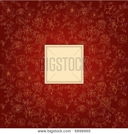 Claret background with decorative flowers
