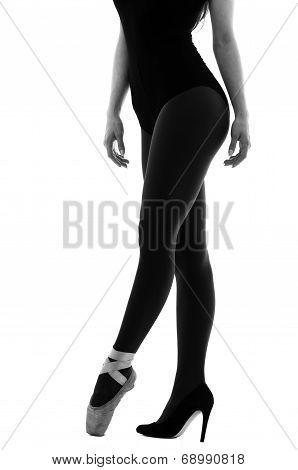 ballerina dancer wearing ballet and high heels shoes