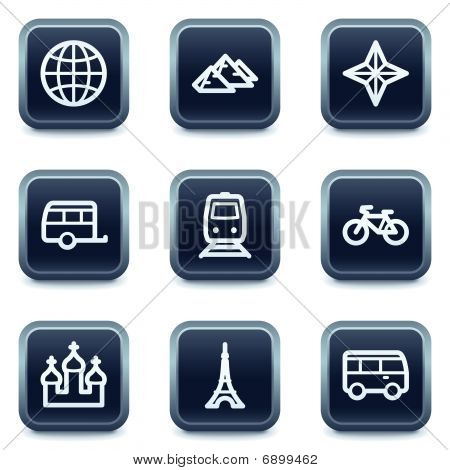 Travel web icons set 2, mineral square buttons series