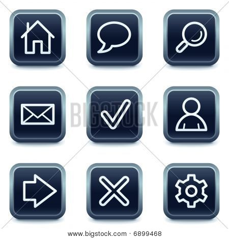 Basic web icons, mineral square buttons series