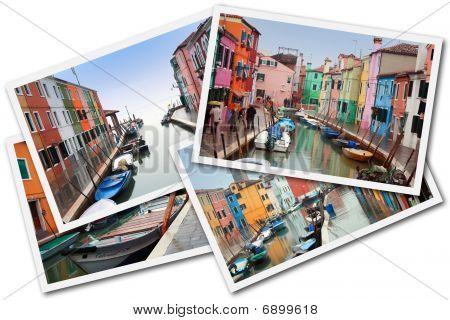 Collage Of Burano Island, Venice, Italy