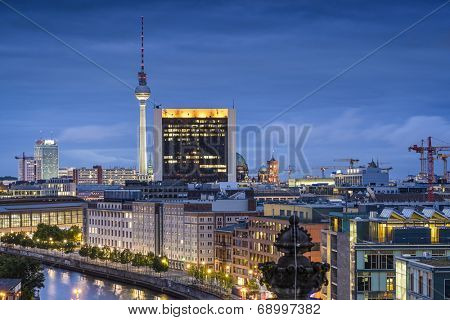 Berlin, Germany city skyline at night.