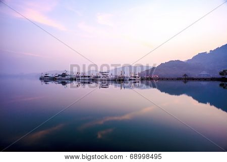 View Of The Famous Sun Moon Lake In Taiwan