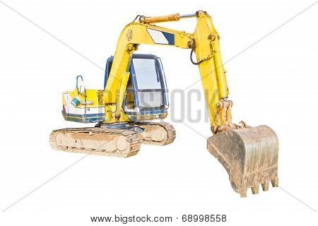 A Huge Shovel Digging On Ground Isolated On White Background.