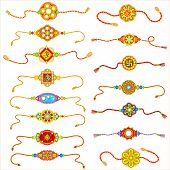 picture of rakhi  - vector illustration of decorated rakhi for Raksha Bandhan - JPG