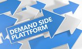 stock photo of cpa  - Demand Side Platform 3d render concept with blue and white arrows flying over a white background - JPG