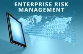 image of enterprise  - Enterprise Risk Management illustration with tablet computer on blue background - JPG
