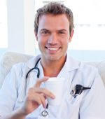 picture of doctors office  - Positive doctor having a break in the staff room - JPG