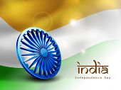 picture of asoka  - 3D Asoka wheel on national flag waving background for Indian Independence Day celebrations - JPG