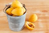pic of loquat  - loquat fruit in bucket on wooden table - JPG