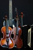 picture of accordion  - Violin guitar and accordion still life isolated objects music - JPG