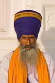 pic of turban  - Portrait of Indian sikh man in turban with bushy beard - JPG
