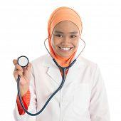 image of muslimah  - Young Muslim female doctor portrait - JPG
