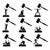 image of delinquency  - Set of humorous vector cartoons of culprits behaving in many different ways - JPG