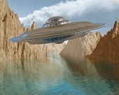 image of flying saucer  - Illustration of a flying saucer hovering in the sky - JPG