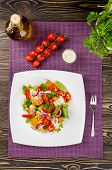 picture of gyro  - Chicken gyros salad on white plate top view - JPG