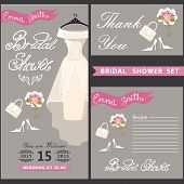 picture of recipe card  - Bridal shower design templat set with wedding dress in Retro style with high heel shoes - JPG