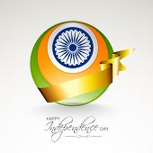 image of asoka  - Shiny globe in national tricolors with Asoka Wheel and golden ribbon on grey background for 15th of August - JPG