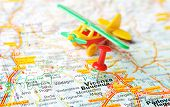 foto of vicenza  - Close up of Vicenza Italy map with red pin and airplane - Travel concept