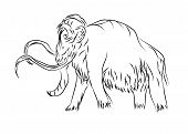 picture of mammoth  - mammoth outline animal isolated on a white background - JPG