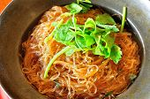 stock photo of cooked crab  - Steamed crab vermicelli on a steel plate - JPG