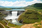 image of dam  - Katse Dam in the Drakensberg Mountains - JPG