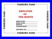 image of employee month  - Painted created photo of a blank employee of the month parking pass - JPG