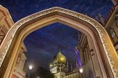 foto of masjid  - Masjid Sultan Mosque Gateway Entrance in Singapore at Blue Hour - JPG