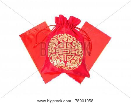 Red Silky Money Bag With Red Envelopes