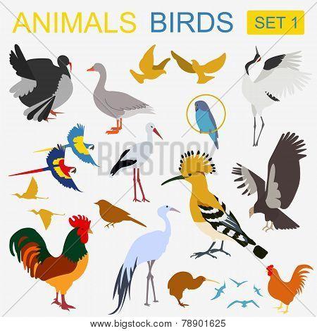 Birds Icon Set. Vector Flat Style