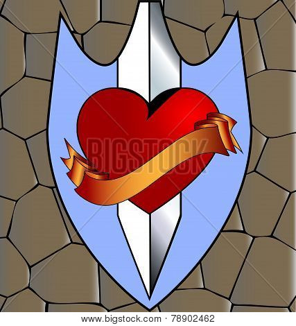 abstract heart and knife