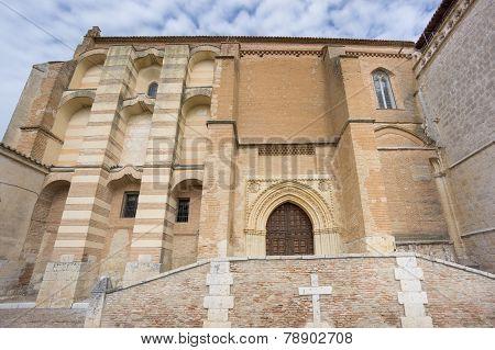 Wide angle view of Santa Clara Convent in Tordesillas, facade