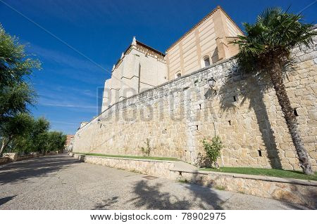 Wide angle view of Santa Clara Convent and wall in Tordesillas