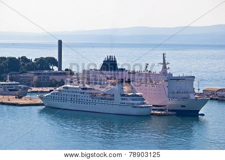 City Of Split Harbor Aerial View