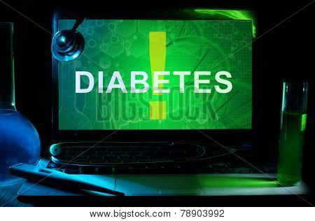 Notebook with words diabetes