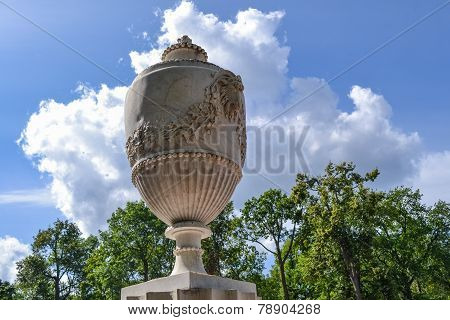 Beautiful decorative vase in the Park of Peterhof