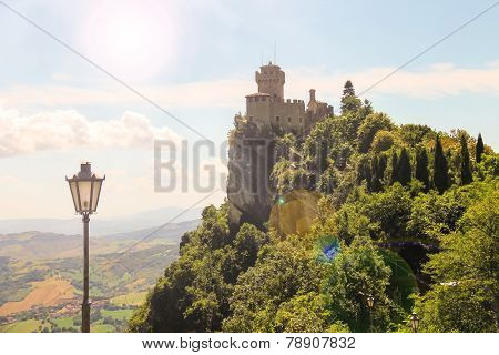 Fortress Of San Marino On A Sunny Day