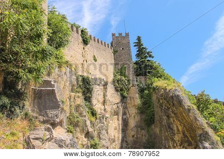 Fortress Wall In San Marino. The Republic Of San Marino