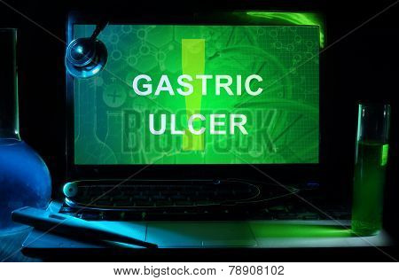 Notebook with words gastric ulcer