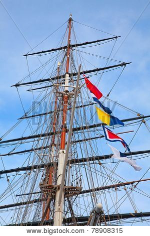 Masts of the old sailing ship