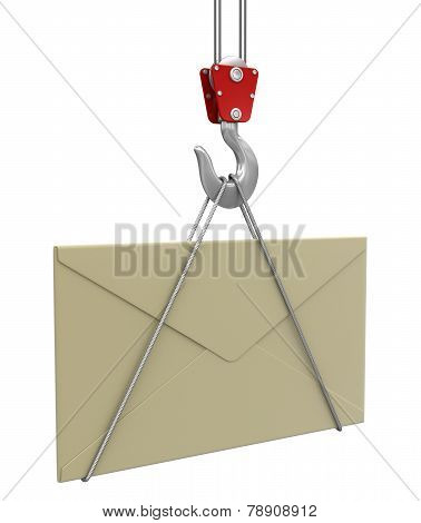 Crane raises letter (clipping path included)