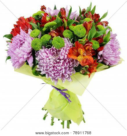 Bouquet Of Chrysanthemums And Alstroemeria