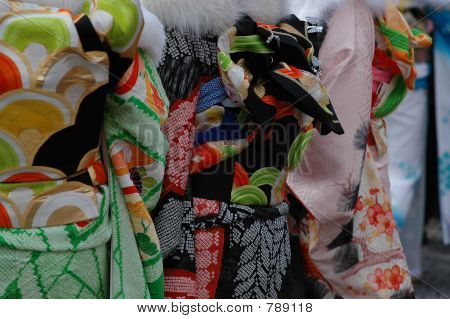 colourful kimono fabric detail