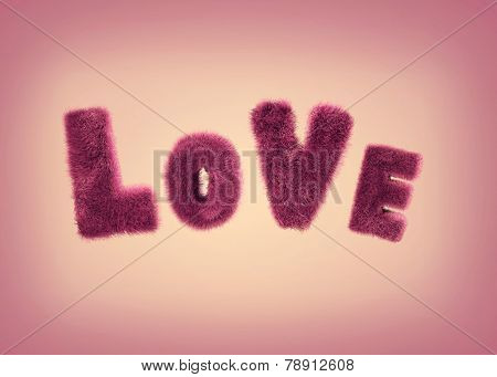 Soft fluffy letters love on a pink background