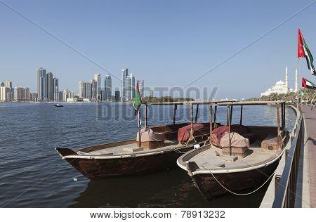 Abra boat overlooking the Khalid Lagoon. Sharjah. United Arab Emirates